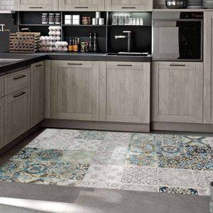 שטיח אריחים כחול אפור