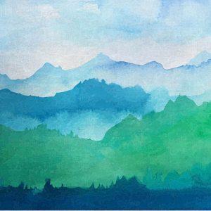 טפט הרים כחול ירוק