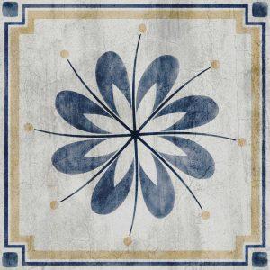 מדבקות לאריחים, פרח, כחול