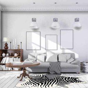 שטיח אמנותי, זברה, שחור לבן, cnc