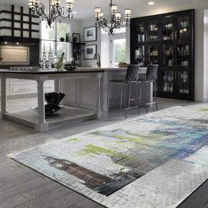 שטיח אמנותי, לונדון, אפור, כחול