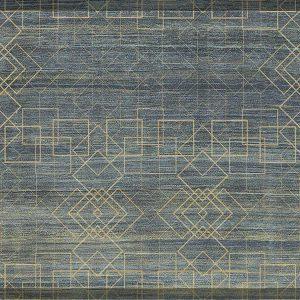 שטיח קלאסי, אפור כחול בשילוב דמוי זהב