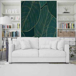 טפט טרופי, עלים טרופיים, ירוק, זהב