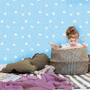 טפט לחדר תינוקות, טפט תכלת, טפט כוכבים