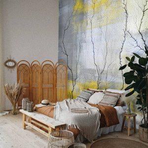 טפט חדר שינה, טפט לסלון, טפט עצים, טפט צהוב