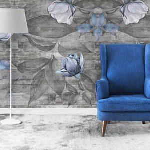 טפט פרחים, טפט דמוי עץ, פרח כחול